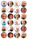 24 Boss Baby Edible Wafer Rice Cup Cake Toppers